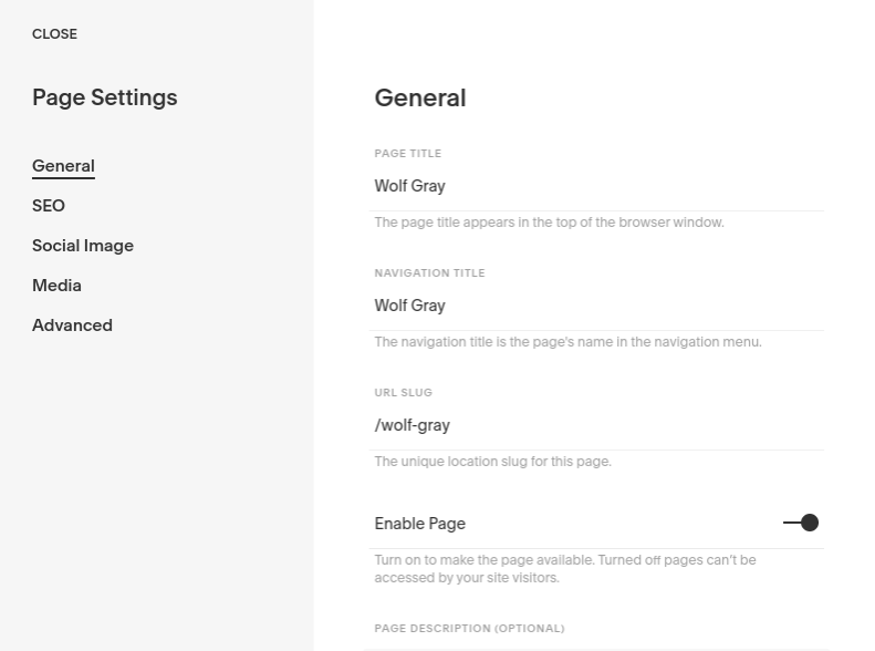 add a page in Squarespace